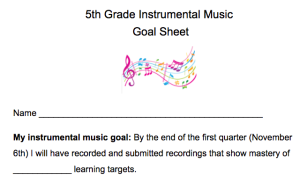 5th Grade Instrumental Music Goal Sheet